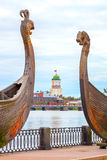 The fortress of Vyborg on the background of the two ancient ship Royalty Free Stock Photos