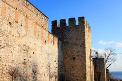 Fortress wall. Of Ottomans palace, Topkapi. Sultanahmet, Istanbul Royalty Free Stock Photo