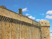 Fortress wall the abbey of Mont Saint Michel. Normandy, France royalty free stock photography