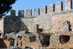 Fortress wall of the Alanya castle in the Old Town Alanya, Turkey Stock Photo
