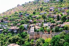Fortress wall of the Alanya castle in the Old Town Alanya, Turkey Royalty Free Stock Photography