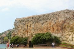 Fortress wall of the Alanya castle in the Old Town Alanya, Turkey Stock Photography
