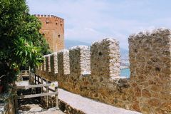 Fortress wall of the Alanya castle in the Old Town Alanya, Turkey Royalty Free Stock Photos