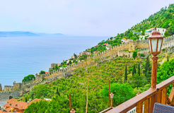 The fortress wall in Alanya Stock Image