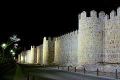 Fortress wall in Avila at night Royalty Free Stock Images