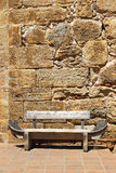 Fortress wall and bench Royalty Free Stock Photo