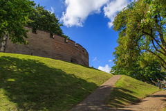 Fortress wall in city park Royalty Free Stock Image