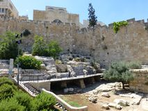 The fortress wall and archaeological site. royalty free stock images