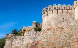 Fortress wall in the Kumbhalgarh fort, Rajasthan, India Royalty Free Stock Images