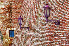 Fortress wall with lampposts Stock Image