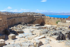 Fortress wall of Lindos Royalty Free Stock Photos