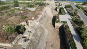 Fortress wall National Park Caesarea stock video footage
