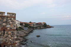 Fortress wall in the old town of Sozopol, Bulgaria Stock Photo