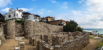 Fortress wall of the old town Sozopol Stock Photos