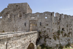 Fortress wall Rhodes Royalty Free Stock Photo