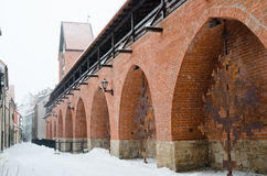 Fortress wall in Riga in winter day Royalty Free Stock Photo