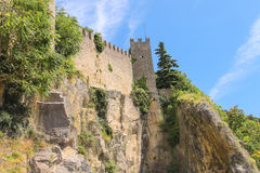 Fortress wall in San Marino. The Republic of San Marino Royalty Free Stock Image