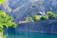 Fortress wall at Shkurda River in Old Town, Kotor, Montenegro Stock Images