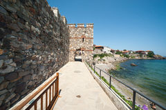 The fortress wall shores of the Black Sea in Bulgaria Royalty Free Stock Image