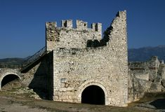 Fortress wall and tower, Berat, Albania Stock Images