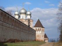Fortress wall with towers, Church of St. Sergius of Radonezh, South Gate, Boris and Gleb Monastery, Borisoglebsk, Rostov district,. Yaroslavl region, Russia Royalty Free Stock Images