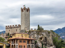 Fortress wall and watchtower of Scaliger Castle in Malcesine Royalty Free Stock Image