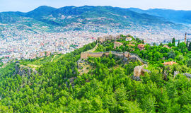 The fortress walls in Alanya Stock Photos