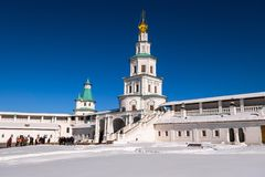 Fortress walls and the gate Church over the Eastern Holy gate of the New Jerusalem Monastery. Istra, Moscow suburbs, Russia. The New Jerusalem Monastery is a Royalty Free Stock Images