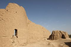 The fortress walls Ghal`eh Jalali in Kashan city, Iran. Sultan Malik Shah I of the Seljuk dynasty ordered the building of a fortress in the middle of Kashan in Stock Images