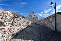 The fortress walls and towers of Aosta Cinta Muraria e Torri  Aosta Valle d`aosta Italy Royalty Free Stock Photos