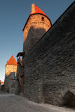 Fortress walls and towers in old town of Tallinn Stock Image