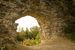Fortress window. View from medieval fortress' window Stock Photos