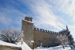 Fortress in winter with snow royalty free stock images
