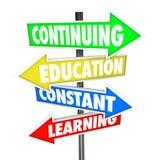 Fortsätta utbildning Constant Learning Street Signs Arkivbilder