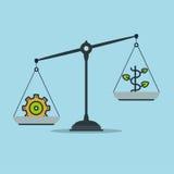 Fortschritt und Wohlstand auf Skalen, Geschäftserfolg Lizenzfreie Stockfotos