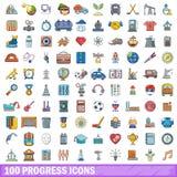 100 Fortschrittsikonen eingestellt, Karikaturart Stockbilder