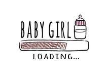 Fortschrittsstange mit Aufschrift - Baby-Laden und Milchflasche in der flüchtigen Art stockbild