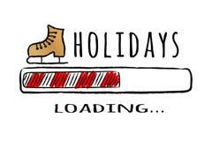 Fortschrittsstange mit dem Aufschrift Feiertagsladen und Schlittschuh in der flüchtigen Art lizenzfreie stockbilder