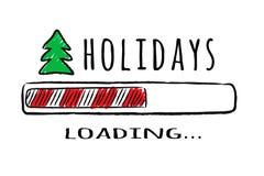 Fortschrittsstange mit dem Aufschrift Feiertagsladen und Tannenbaum in der flüchtigen Art stockbilder