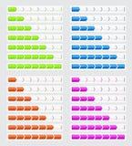 Fortschrittsstangen in vier Farben für Website Lizenzfreie Stockbilder