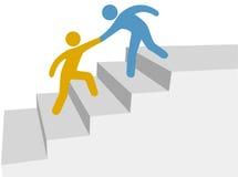 Fortschrittszusammenarbeitshilfe, oben zu steigen verbessern Jobstepps Lizenzfreies Stockfoto