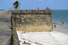 Fortsinaasappel, oceaan, strand en toeristen, Brazilië Stock Foto's