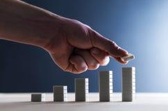 Fortskrida och att planera strategi, löneförhöjning i försäljningar eller framgång royaltyfria foton