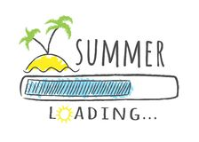 Fortskrida stången med inskriften - sommarpäfyllning och gömma i handflatan på stranden i knapphändig stil Royaltyfria Bilder