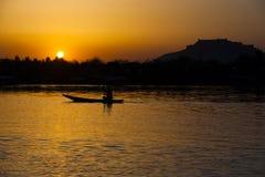 Fortu łódkowaty Zmierzch Dal Jeziorny Srinagar Kaszmir India Obraz Royalty Free