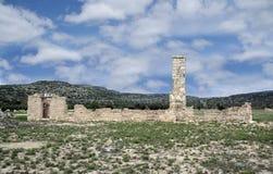 Fortu Lancaster stanu Historyczny miejsce jest historycznym kamieniem i adobe ruiny, koszarują, kominy kresy U S Wojsko poczta fotografia stock