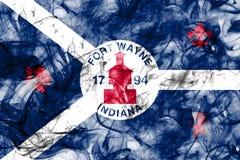 Fortu Wayne miasta dymu flaga, Indiana stan, Stany Zjednoczone Amer Fotografia Royalty Free