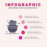 Fortuin, Goud, Geluk, Metaal, Geld Stevig Pictogram Infographics 5 de Achtergrond van de Stappenpresentatie vector illustratie