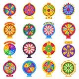 Fortuinwiel Weddende failliete wielen, gelukkige rotatie of winnaar en vectorreeks van de weddenschapsroulette de vlak vector illustratie
