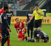 Fortuna Düsseldorf v Hertha BACCALAUREUS IN DE EXACTE WETENSCHAPPEN Berlijn. Royalty-vrije Stock Afbeeldingen